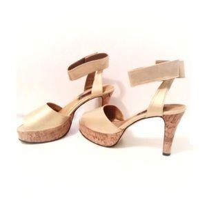 Medici Holiday Gold & Cork Peep Toe Platform Heels
